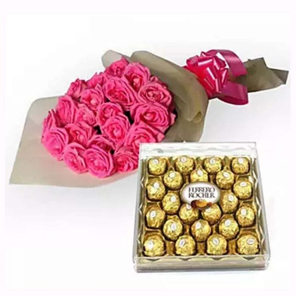25 pink roses wrapped in off white paper and tied with pink ribbon and 300 grams ferrero rocher chocolate box