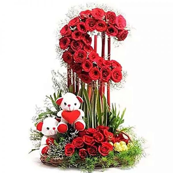 50 red roses arranged as half moon with 2 six inch teddy and 16 pc ferreo rocher chocolate