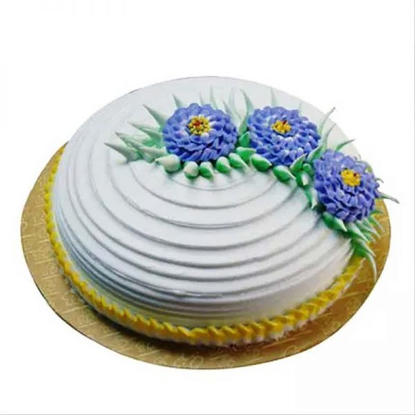 Round shaped dsigner pineapple cake decorate with purple flower design